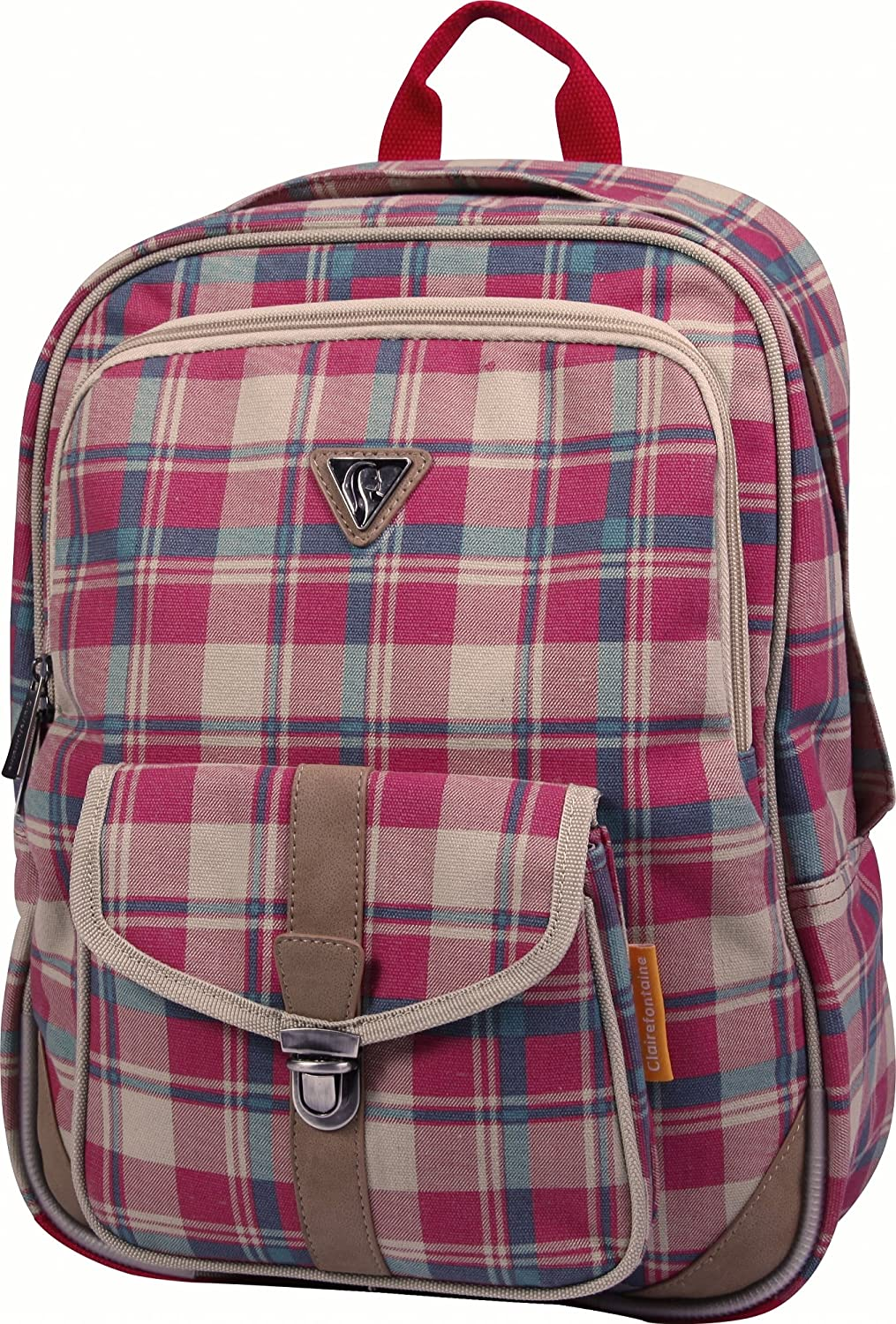 Clairefontaine Classic Bag 8014C Sac à dos 2 compartiments + 1 poche 100% coton/finition simili cuir Bleu Gd4F03u