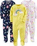 Simple Joys by Carter's pijama de algodón para bebés y niñas pequeñas, 3 unidades ,Dinosaur, Space, Rainbow ,18 Meses