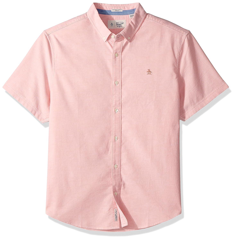 59c028c1 Amazon.com: Original Penguin Men's Short Sleeve Stretch Oxford Shirt,  crabapple, Small: Clothing