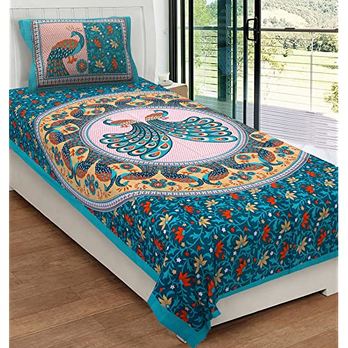RajasthaniKart Classic 144 TC Cotton Single Bedsheet With Pillow Cover    Abstract, Green