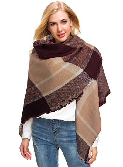 7f0dd1d97 Afibi Women's Winter Plaid Checked Shawl Cape Tartan Blanket Oversized Scarf  (Brown)