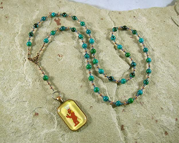 Amazon Bes Prayer Bead Necklace In Chrysocolla Egyptian God Of