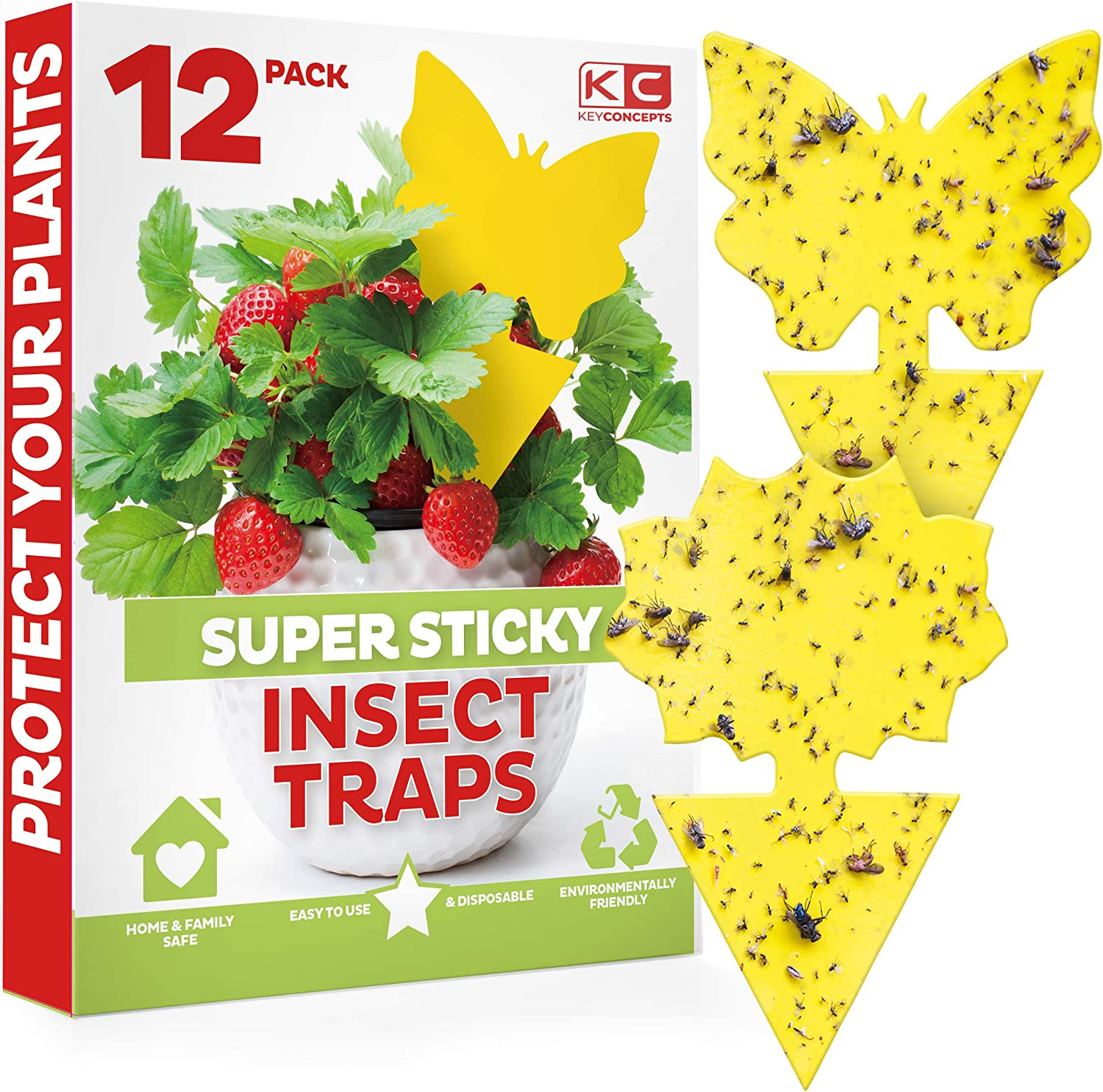 Yellow Sticky Traps(12 Count), Fruit Fly Trap (Gnat Trap Indoor & Outdoor), Fly Paper, Fruit Fly Killer, Gnat Traps for House Plants, Fruit Fly Traps for Kitchen, Outdoor/Indoor Fly Traps, Fly Strips