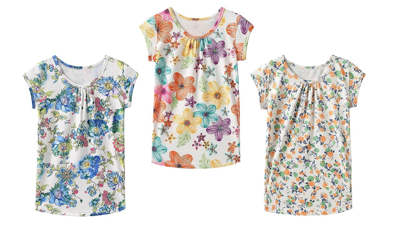 IRELIA 3 Pack Girls Crew Neck Tee Short Sleeve Shirts for School