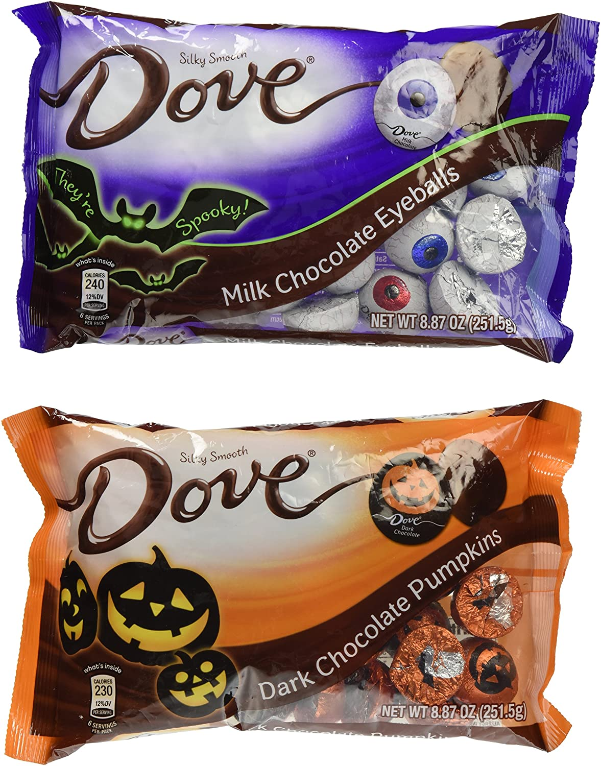 Amazon.com : Dove Halloween Dark Chocolate Pumpkins and Milk ...