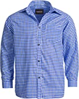Trachtenhemd für Trachten Lederhosen Freizeit Hemd blau-kariert Gr. S-XXXL