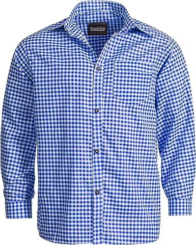 Bongossi-Trade Traje Camisa para Trachten Piel Pantalones Tiempo Libre Camisa de Cuadros Azules (Tallas S – XXXL