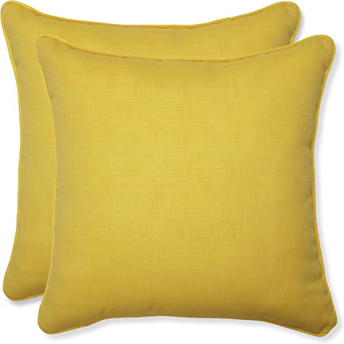 Pillow Perfect Outdoor Fresco Yellow Throw Pillow, 18.5-Inch, Set of 2