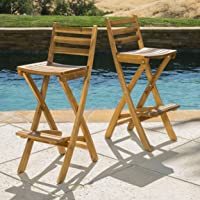 Christopher Knight Home 295797 Tundra Foldable Outdoor Wood Barstool Set, Natural