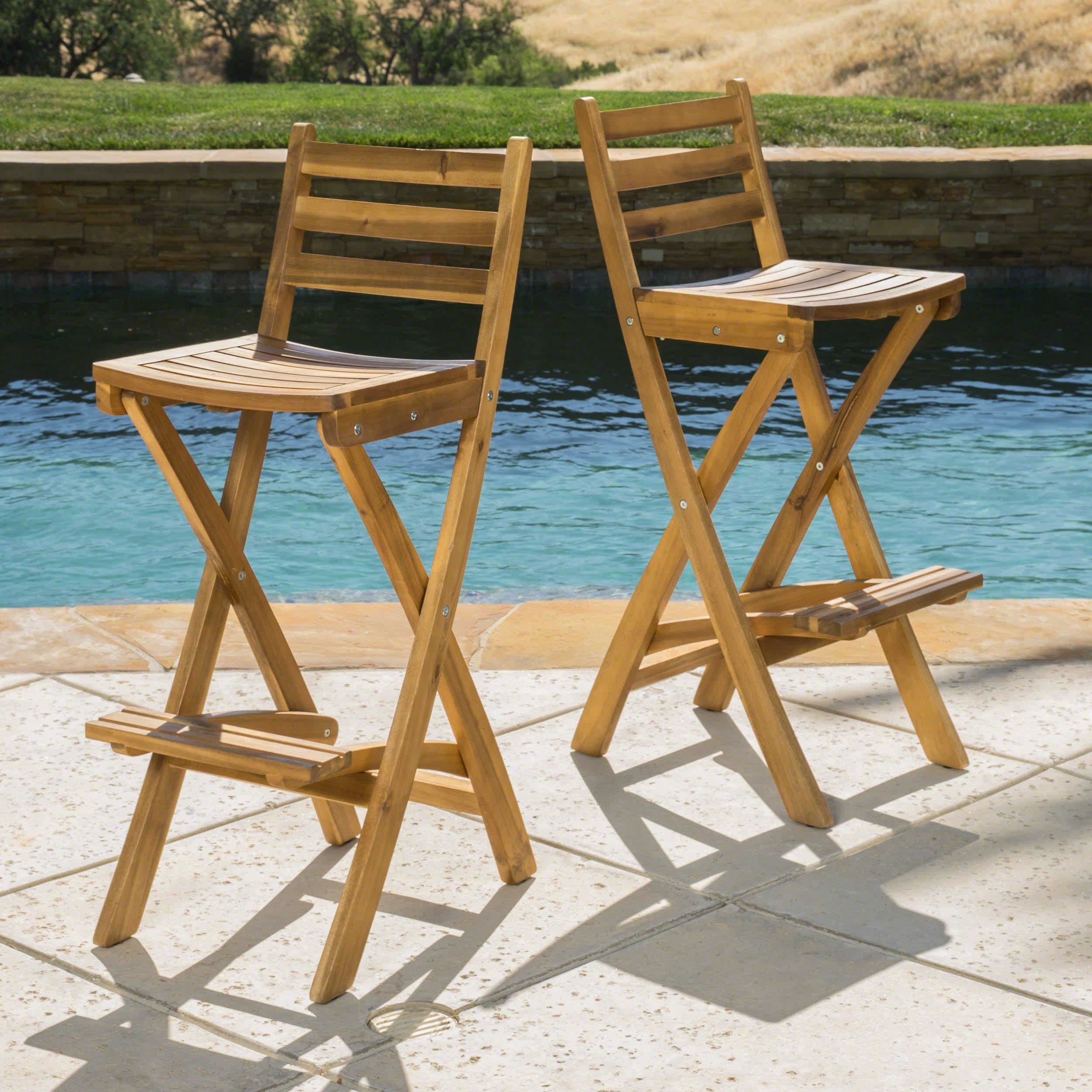 Christopher Knight Home 295797 Atlantic Outdoor Folding Wood Bar Stools