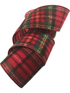 wired christmas ribbon 25 inches wide x 25 feet plaid