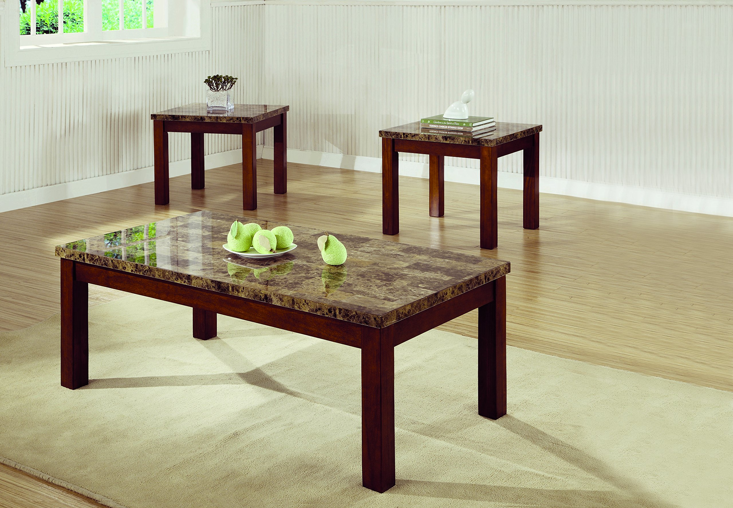 Coaster Home Furnishings 3-piece Occasional Table Set Cherry by Coaster Home Furnishings