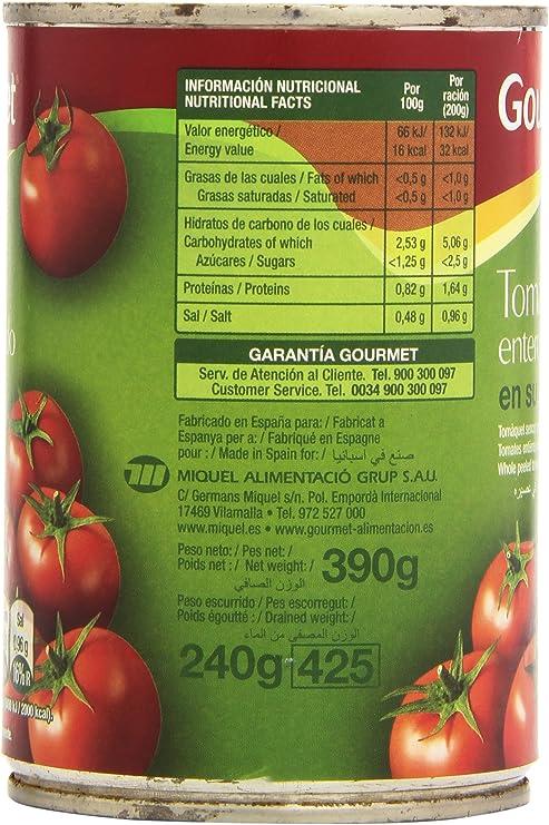 Gourmet Tomate Entero Pelado en su Jugo - 240 g: Amazon.es ...
