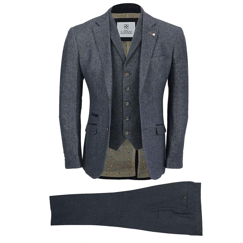 Mens Navy Wool Mix 3 Piece Suit Vintage Herringbone Tweed Smart Tailored Fit UK CAVANI