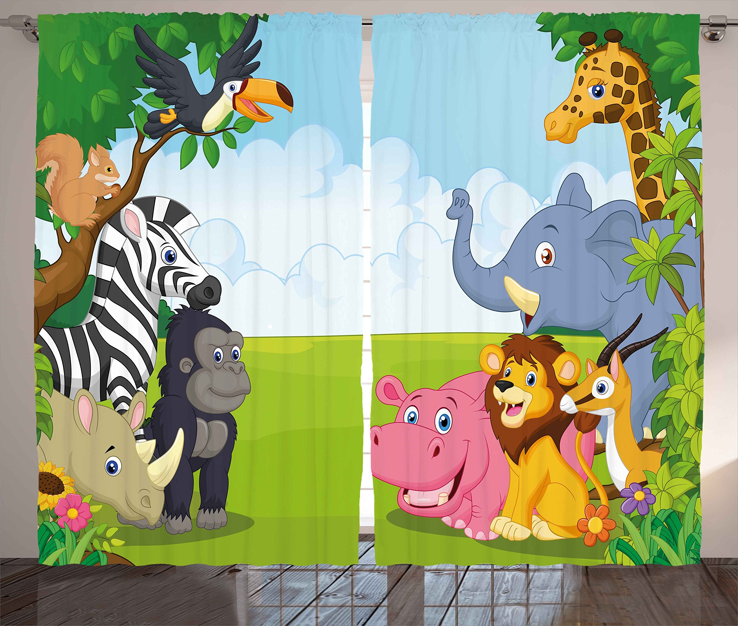 Ambesonne Kids Decor Curtains, Kids Decor Children Nursery Room Safari Themed Cartoon Animals Image Art Print, Living Room Bedroom Window Drapes 2 Panel Set, 108W X 63L inches, Multicolor