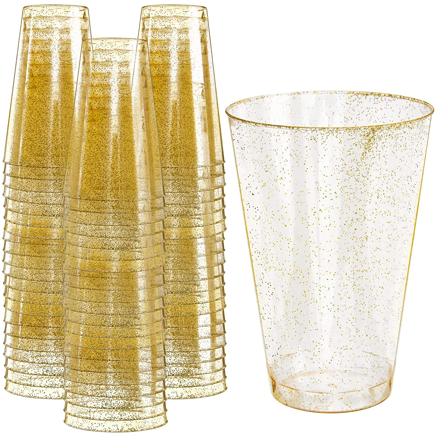 2e1208abf61a Glitter Disposable Cups   14 oz. 50 Pack   Clear Plastic Cups   Gold  Glitter Plastic Party Cups   Disposable Plastic Wine Glasses for Parties    ...