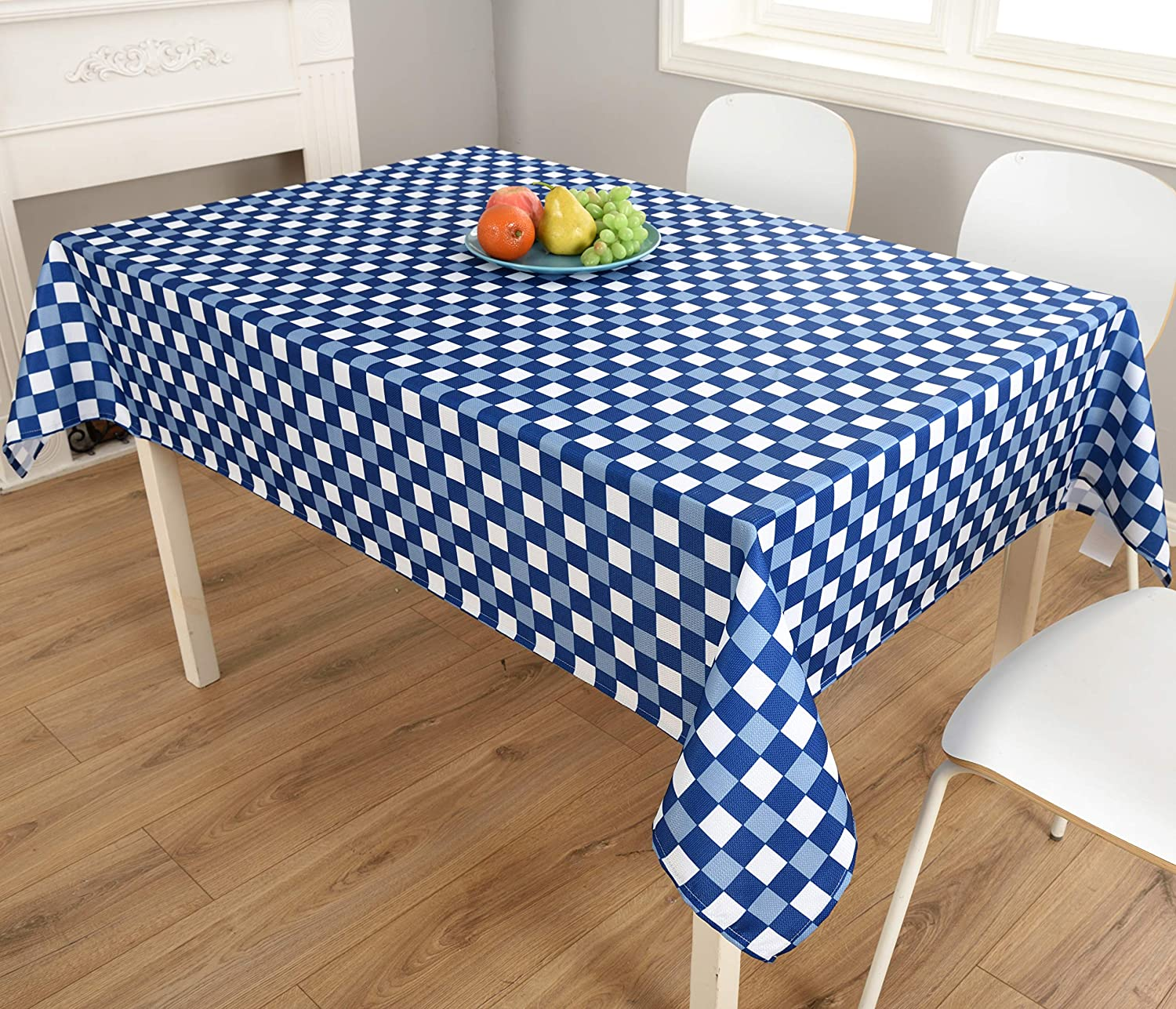 Biscaynebay Fabric Table Cloth 52 by 70 Inches Rectangle, Black Kitchen and Parties Water Resistant Spill Proof Tablecloths for Dining
