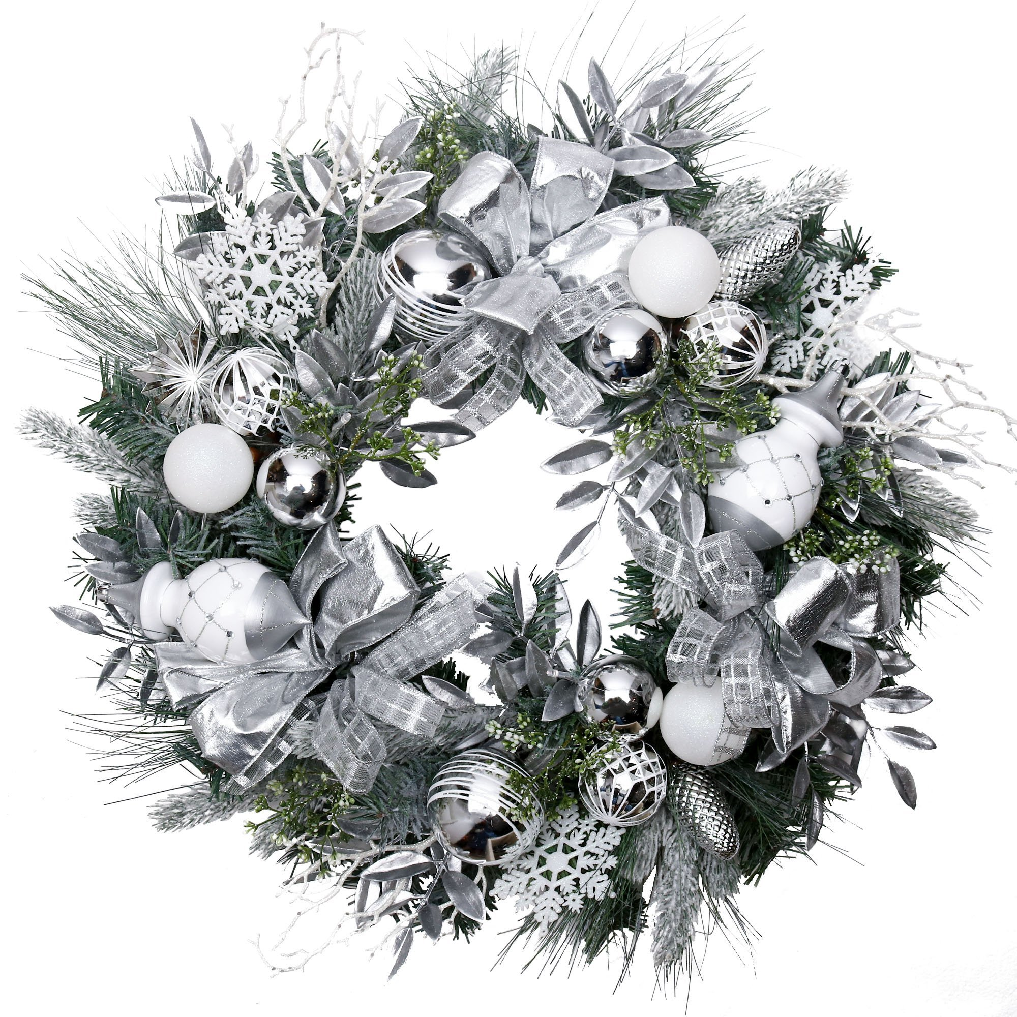V&M VALERY MADELYN Pre-Lit 24'' Silver White Artificial Greenery Spruce Front Door Wreath for Home Wall Wedding Decor, Balls included, Battery Operated 20 LED Lights with Remote and Timer