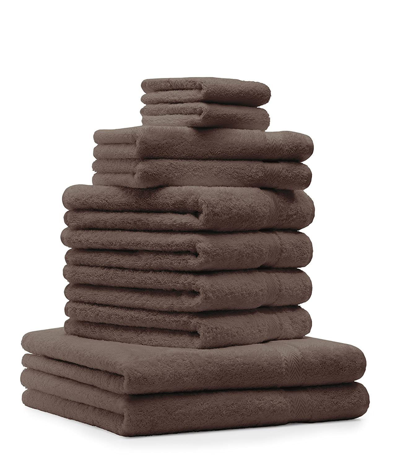 Betz 10-piece towel set in black, 2 bath towels, 4 hand towels, 2 guest towels, 2 wash mitts, 100% cotton, premium bath towel, hand towel, premium hand towel set A Touch of Energy in black.