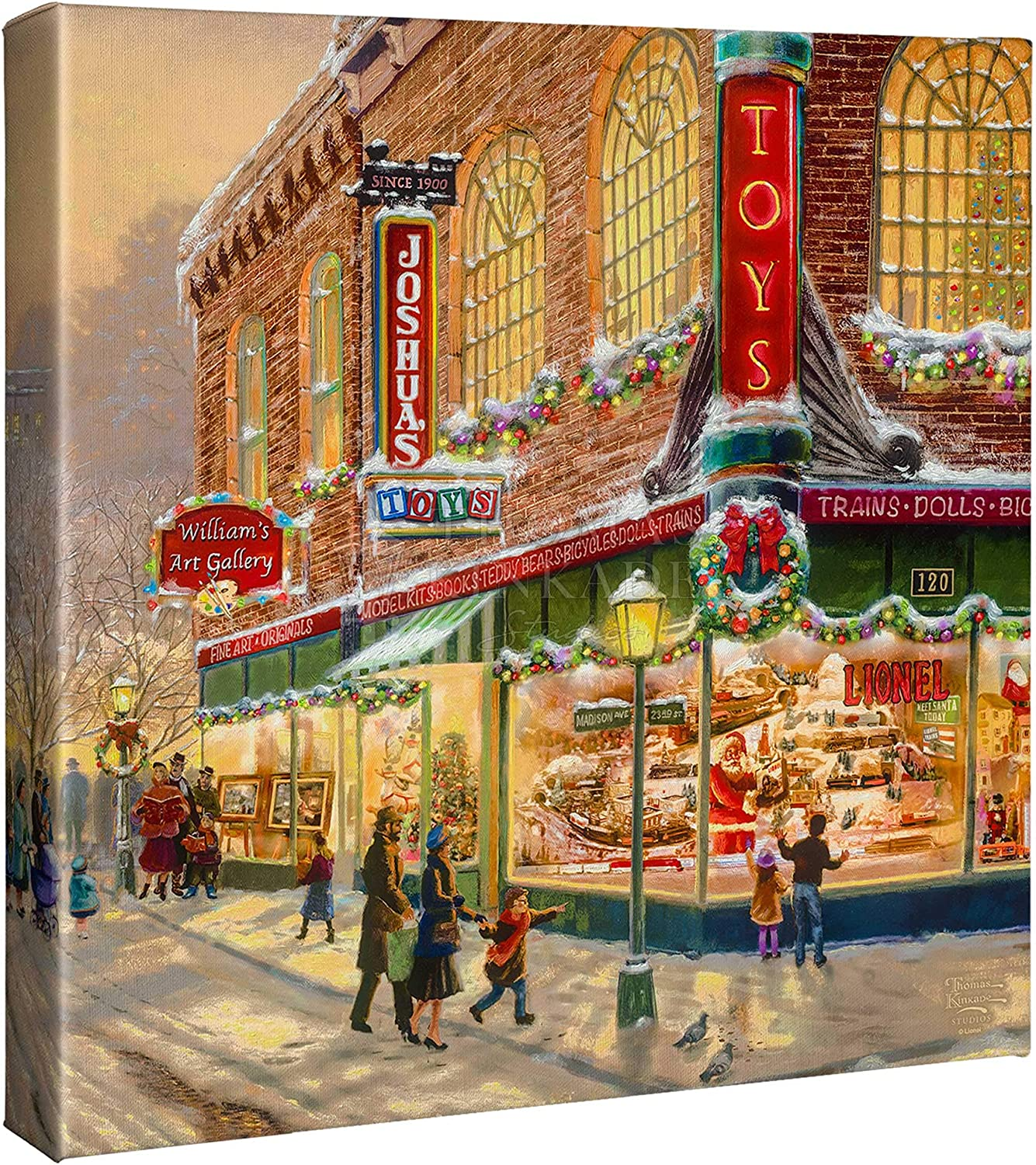Thomas Kinkade Studios A Christmas Wish 14 x 14 Wrapped Canvas (Lionel Train Art)