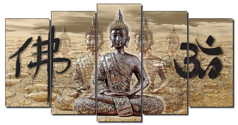 120x3x80cm DekoArte 339 Cuadro moderno en lienzo 1 pieza buda feng shui con decoraci/ón zen