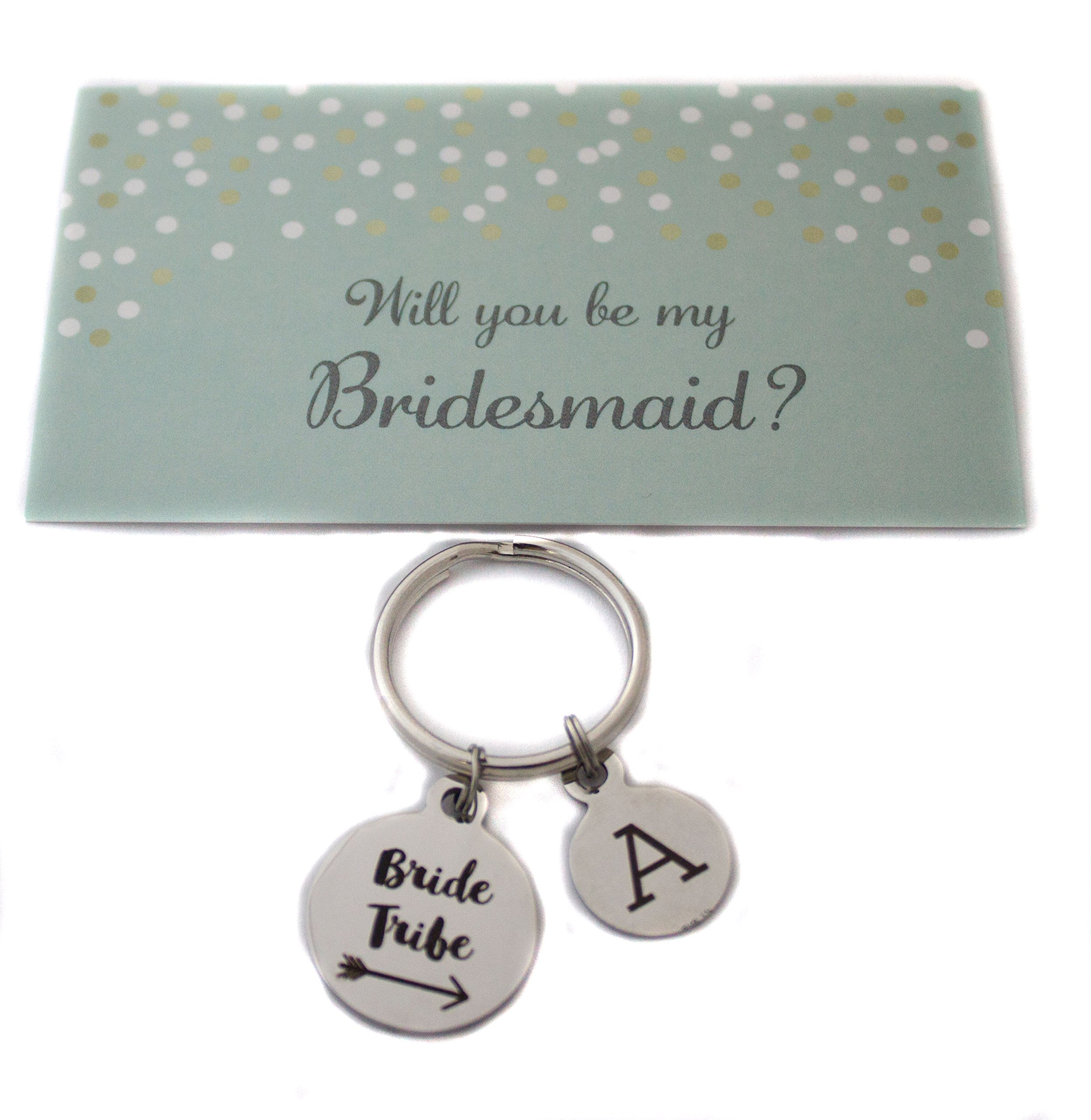 Heart Projects Custom Stainless Steel Bride Tribe Charm Keychain Bag Charm Wedding Party Gift