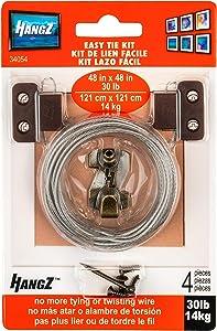 HangZ 34054 Easy Tie 2-Hole D-Ring Picture Hanger Kit, 30lb