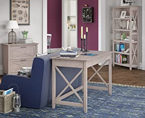 Bush Furniture Key West 48W Writing Desk with 2 Drawer Lateral File Cabinet and 5 Shelf Bookcase in Washed Gray