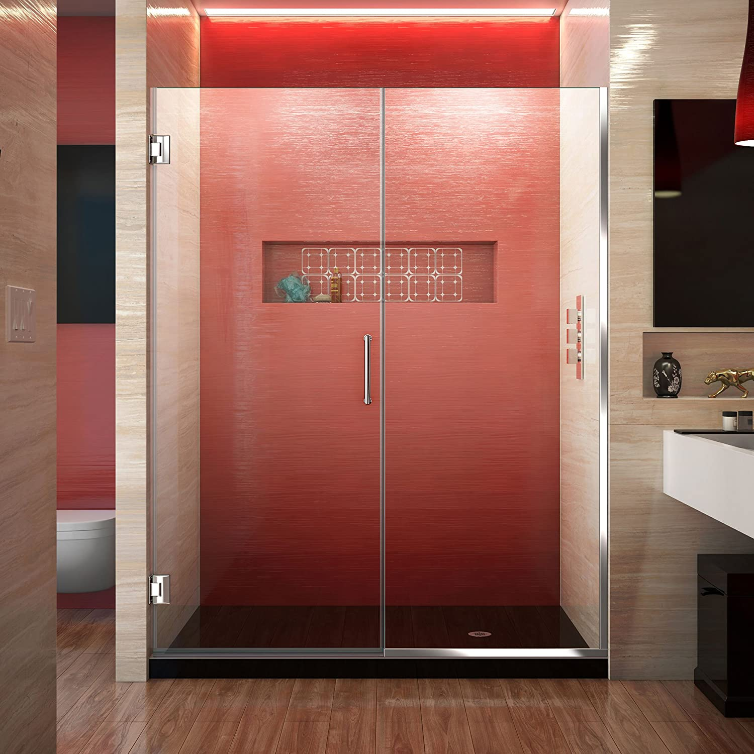 DreamLine Unidoor Plus 55 1 2-56 in. W x 72 in. H Frameless Hinged Shower Door, Clear Glass, Chrome, SHDR-245557210-01