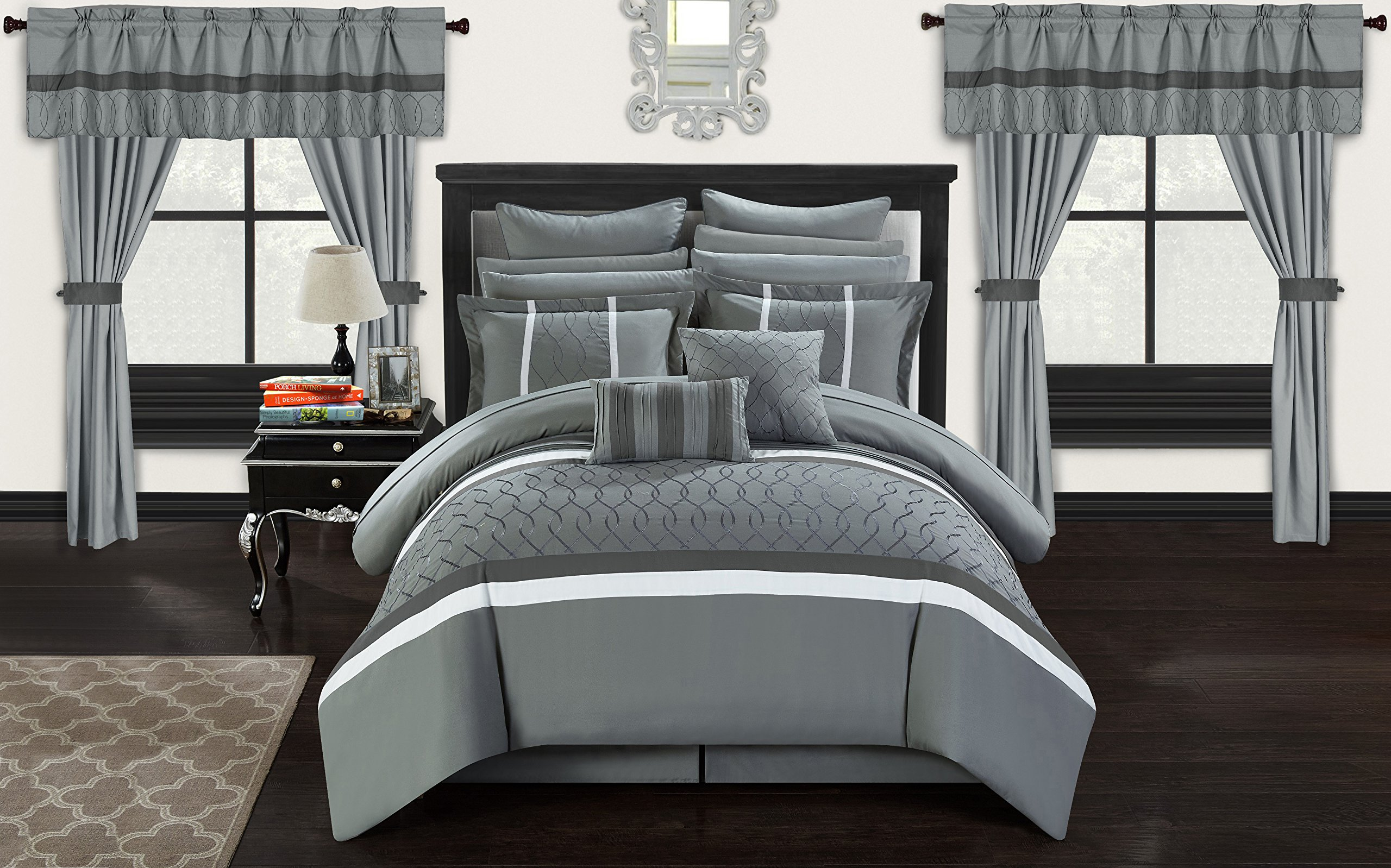 Chic Home CS2875-AN Dinah 24 Piece Bed in A Bag Comforter Set, Grey, King by Chic Home