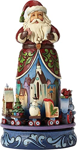 Jim Shore for Enesco Heartwood Creek Santa with Rotating Train Figurine, 10.5