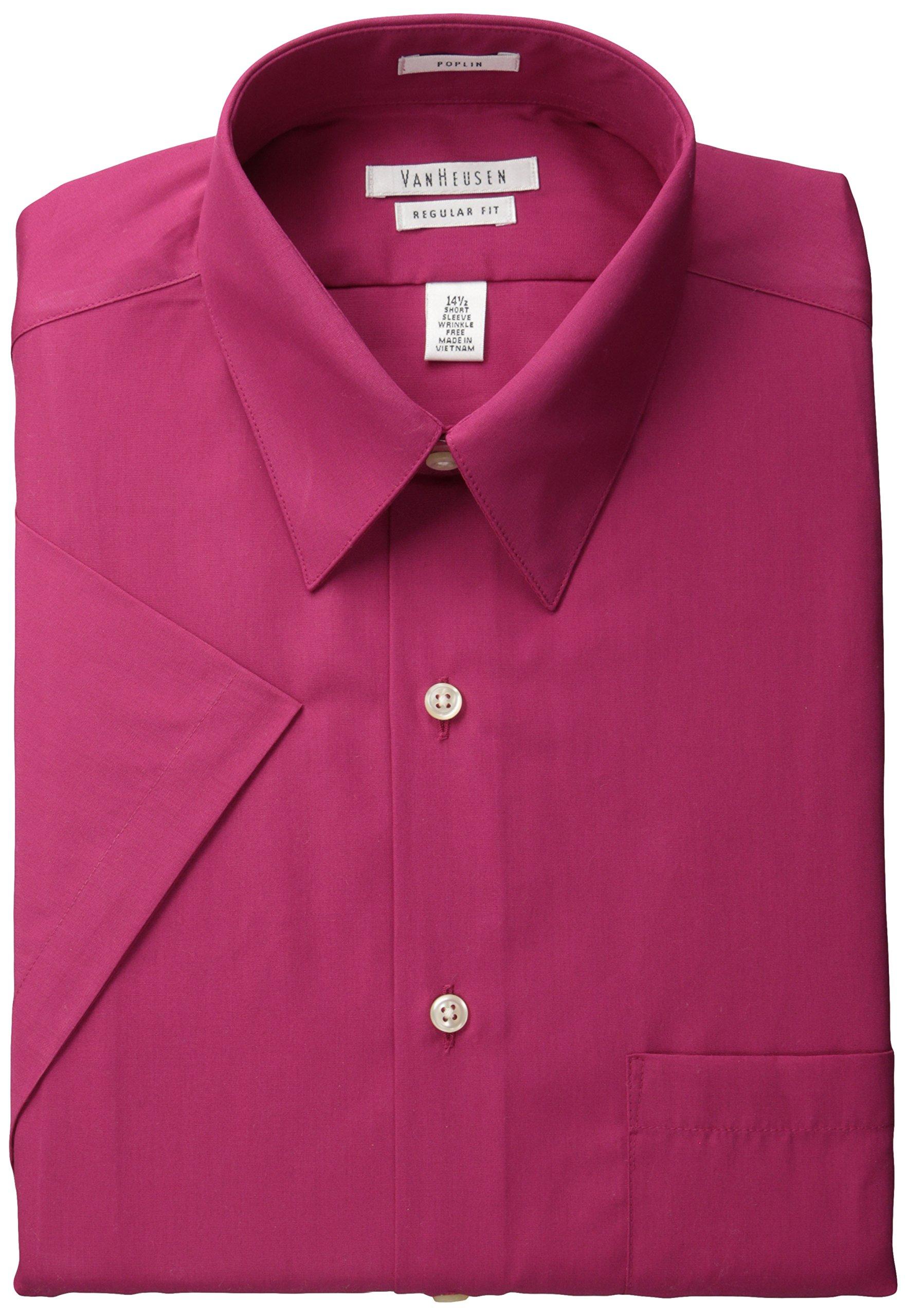 Van Heusen Men's Short Sleeve Poplin Solid Point Collar Dress Shirt, Magenta, 18'' Neck