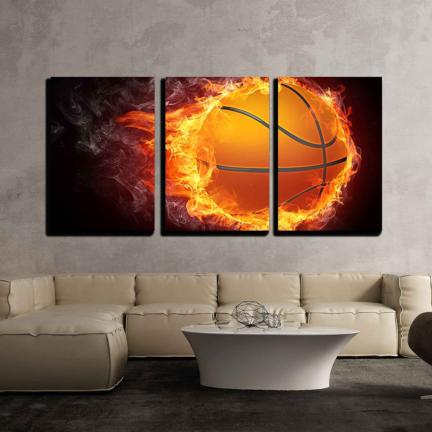 3 Piece Canvas Wall Art - Basketball Ball on Fire. 2D Graphics. Computer Design. - Modern Home Art Stretched and Framed Ready to Hang - 16