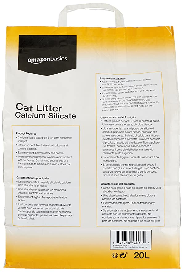 AmazonBasics - Arena para gatos de silicato de calcio, 20 l: Amazon.es: Productos para mascotas