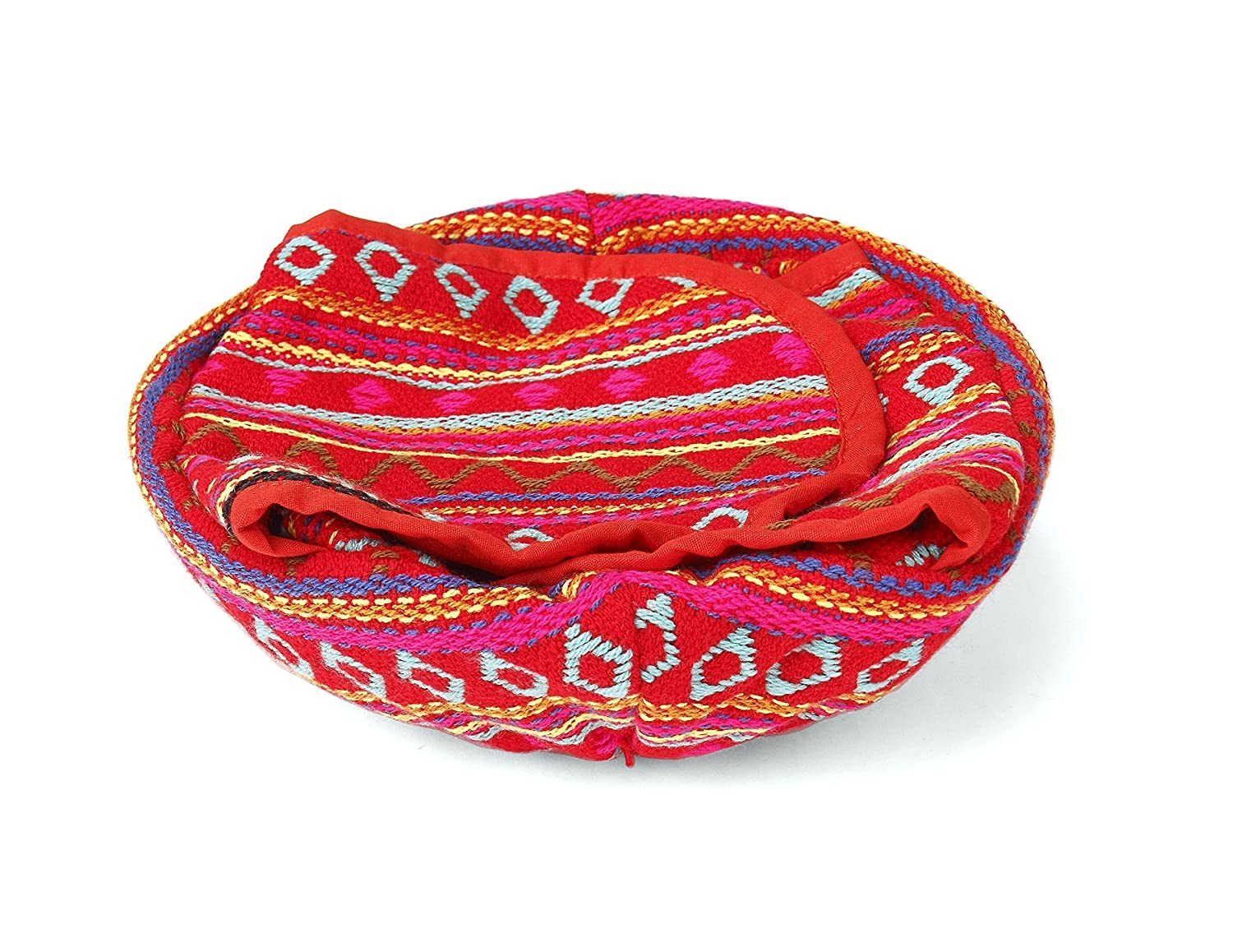 Tortilla Bread, Roti Basket, Woven - 9 Inches (Red) Holds up to 30 Tortillas