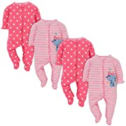 Gerber Baby Girls 4 Pack Sleep and Play, Kitty, 0-3 Months