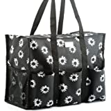 Pursetti Zip-Top Organizing Utility Tote Bag with Multiple Exterior & Interior Pockets for Working Women, Nurses, Teachers and Soccer Moms (Black Daisy)