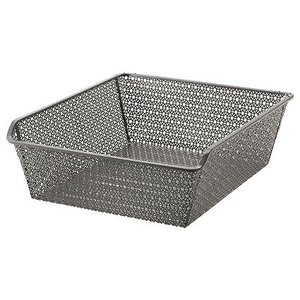 IKEA KOMPLEMENT – Cesta de metal con barra extraíble, color gris oscuro
