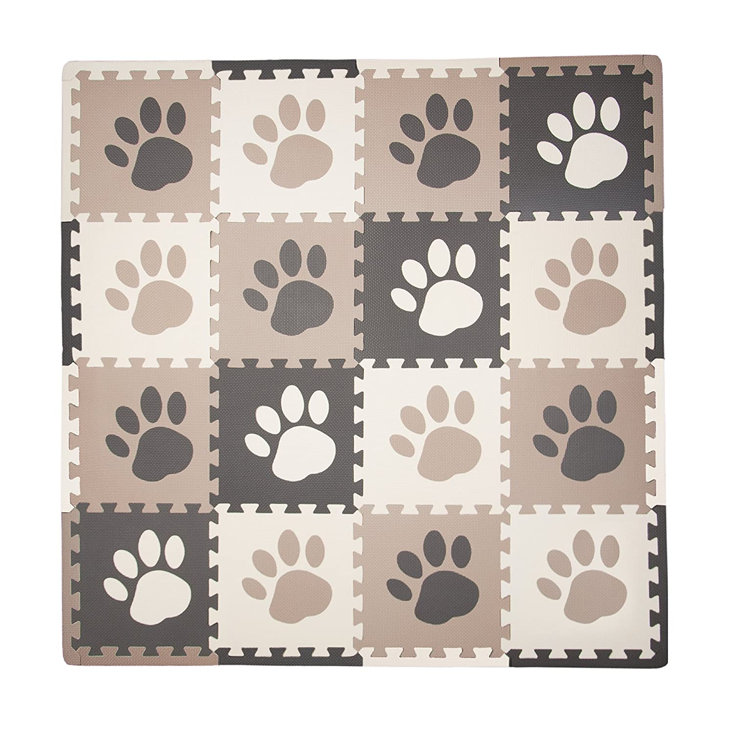 Tadpoles 16 Sq Ft Pawprint Playmat Set, Brown Sleeping Partners cpmsev110