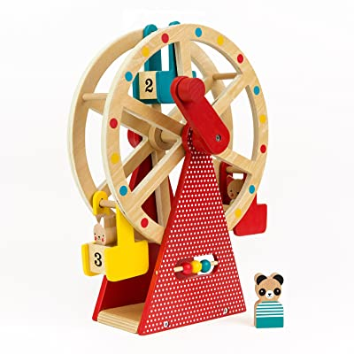 Petit Collage Ferris Wheel Carnival Wooden Toy with 3 Animal Characters : Baby