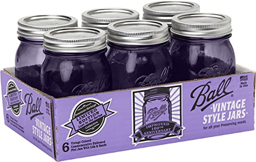 Amazon Com Ball Jar Ball Heritage Collection Pint Jars With Lids And Bands Purple Set Of 6 Kitchen Dining