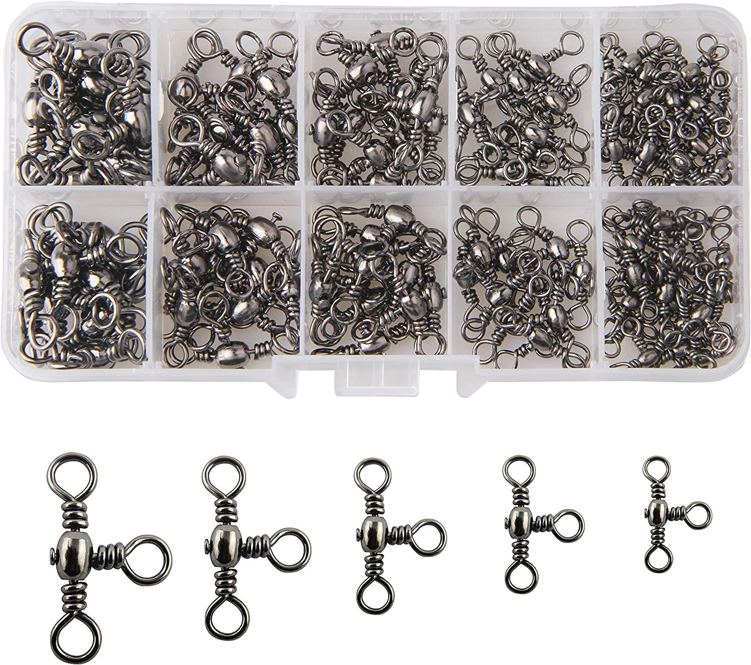 3 Way Fishing Barrel Swivel 20pcs Bearing Brass Rolling Connector Solid Ring New