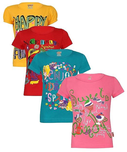 22b4acf03 Sinimini Casual Short Sleeve Printed Girls top  Amazon.in  Clothing ...