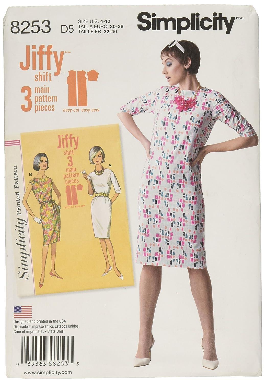 Simplicity Pattern 8253 D5(4-6-8-10-12)ヴィンテージ1960年代のヴィンテージドレス、紙白、22 x 15 x 1 cm   B01LXP5SKD