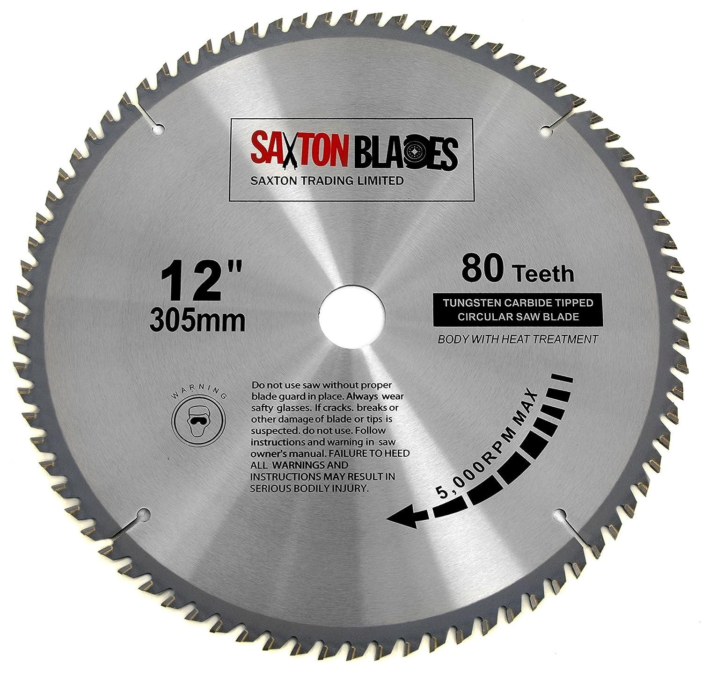 TCT30580TLame TCT pour scie circulaire à bois 305 x alésage 30 mm x 80 dents compatible avec Bosch, Makita et Dewalt Saxton Trading