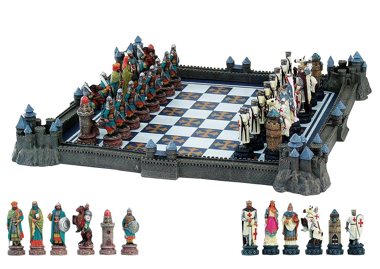 Schach-Set Kreuzritter gg. Araber mit Burgen-Brett 43cm