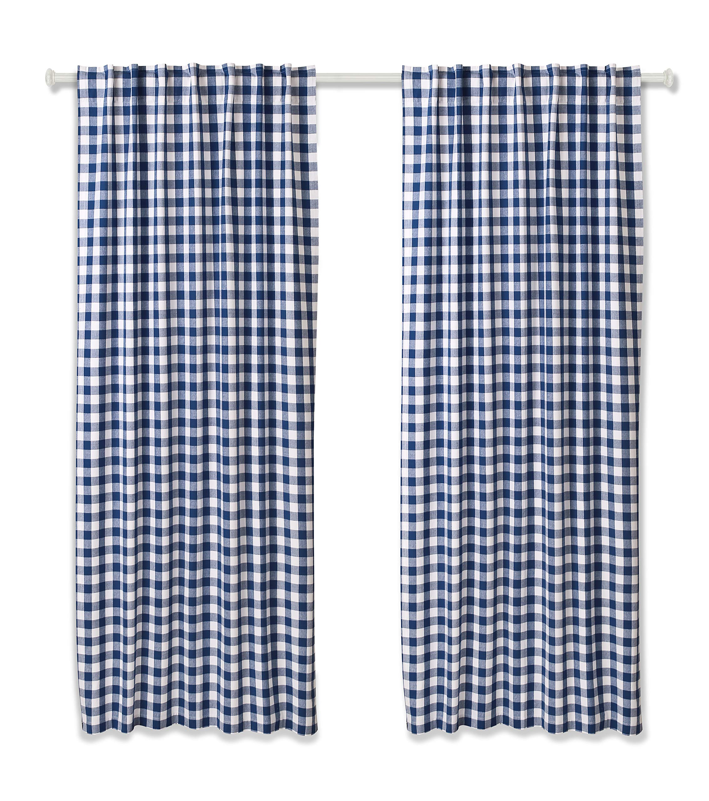Cotton Clinic Gingham Buffalo Check Window Curtains 2 Panels 50x84, Curtains for Living Room, Curtains for Bedroom, Curtains 84 Inch Length, 2 Pack Set Cotton Tab Top Curtains Navy White by Cotton Clinic