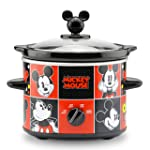 Disney Mickey Mouse, Mickey Mouse 2-Quart Slow Cooker, Rojo/Negro, 1.9 litros, 1