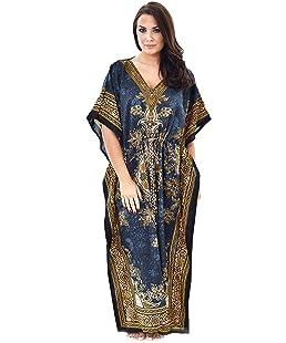 Womens Long Kaftans Printed Dress With Waist Tie (One, Petrol Blue)