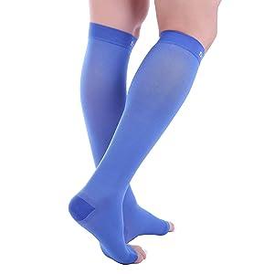 Doc Miller Open Toe Compression Socks 1 Pair 30-40 mmHg (2P, Blue, Large) (Color: Blue, Tamaño: 2-Pair Large)